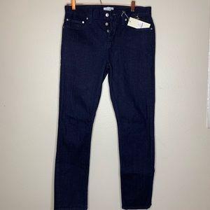 Straight Dark Wash Button Up Jeans